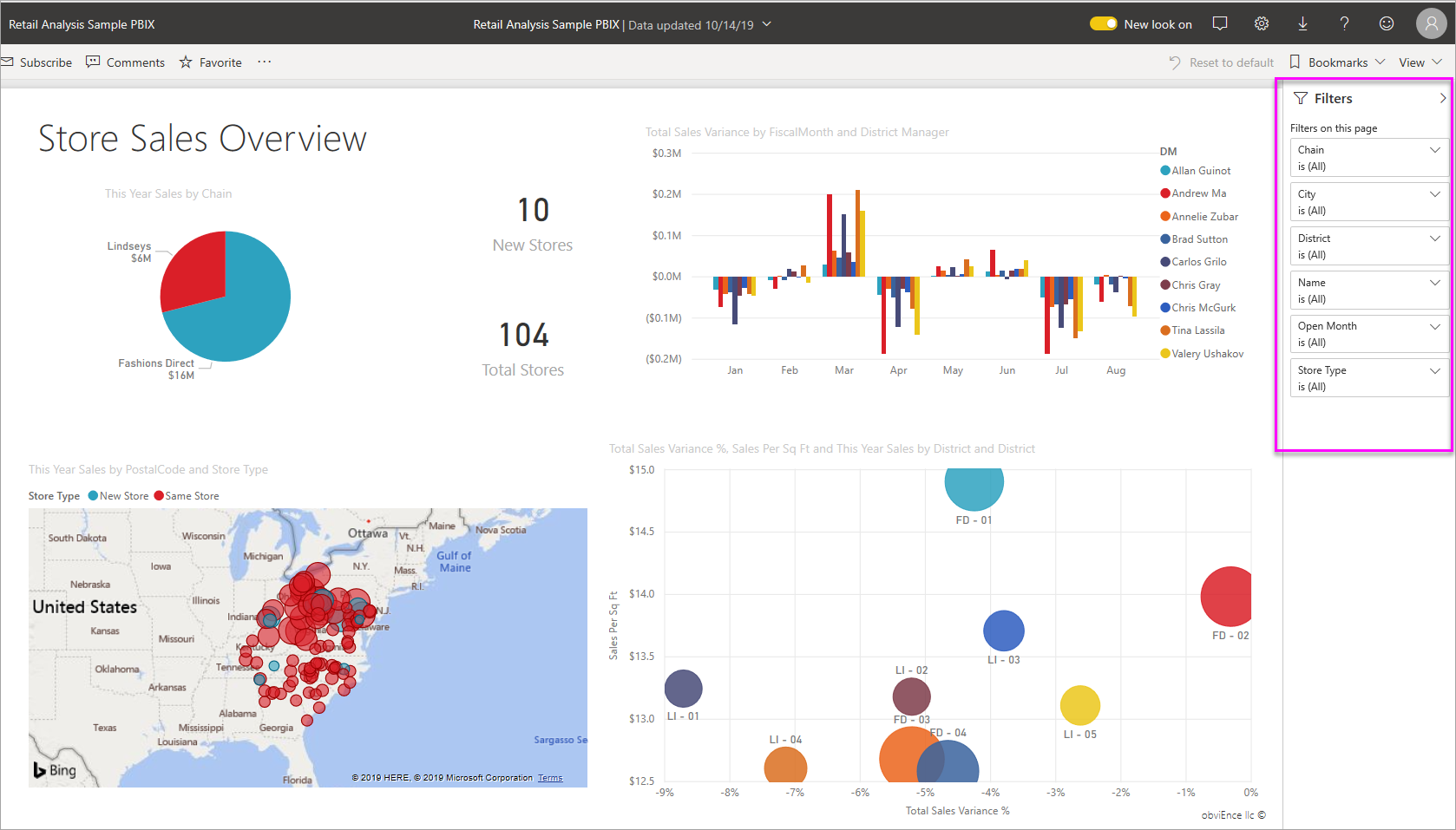 Power BI Filters using Digital Signage