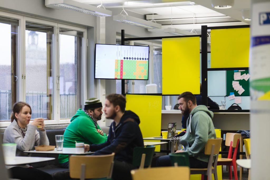 Officevibe on digital signage in Futurice office