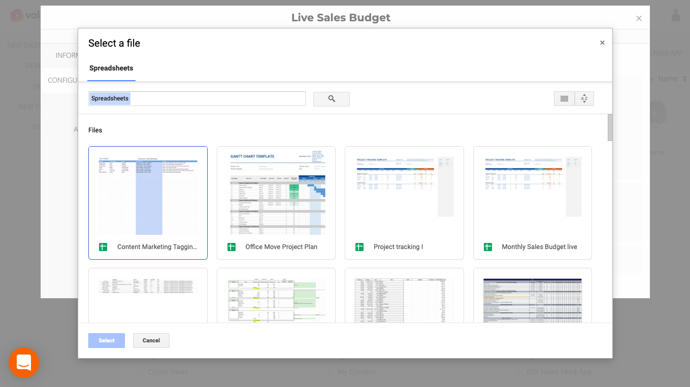 google sheets file selection for digital singage