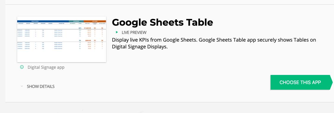 choose google sheets app