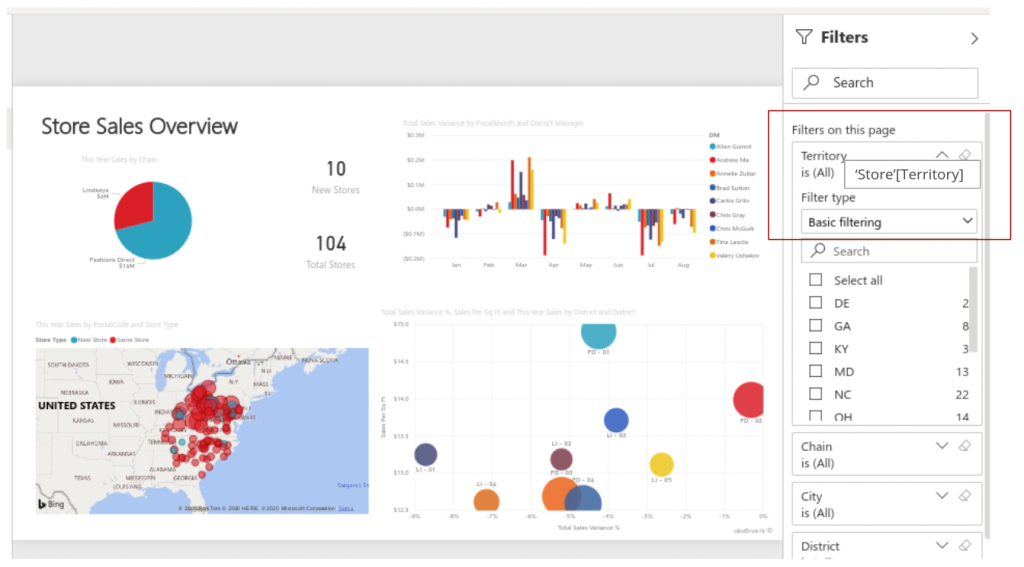 Power BI Report with filters