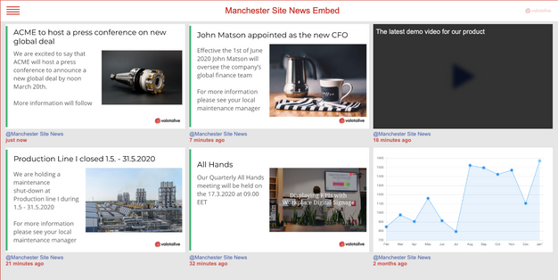 My Content posts embedded in intranet