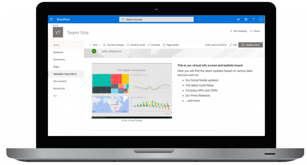 Laptop with SharePoint and Virtual Display on it