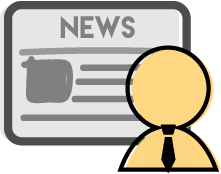 man icon in front of a display with news