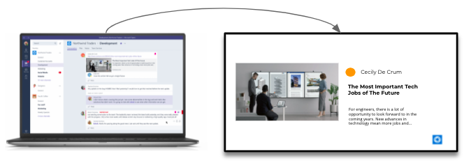 Laptop and digital signage display with microsoft teams message on them