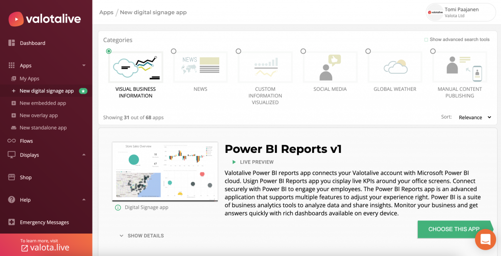 Automatically pull content to Valotalive workplace digital signage software from your favorite workplace apps and tools like Power BI