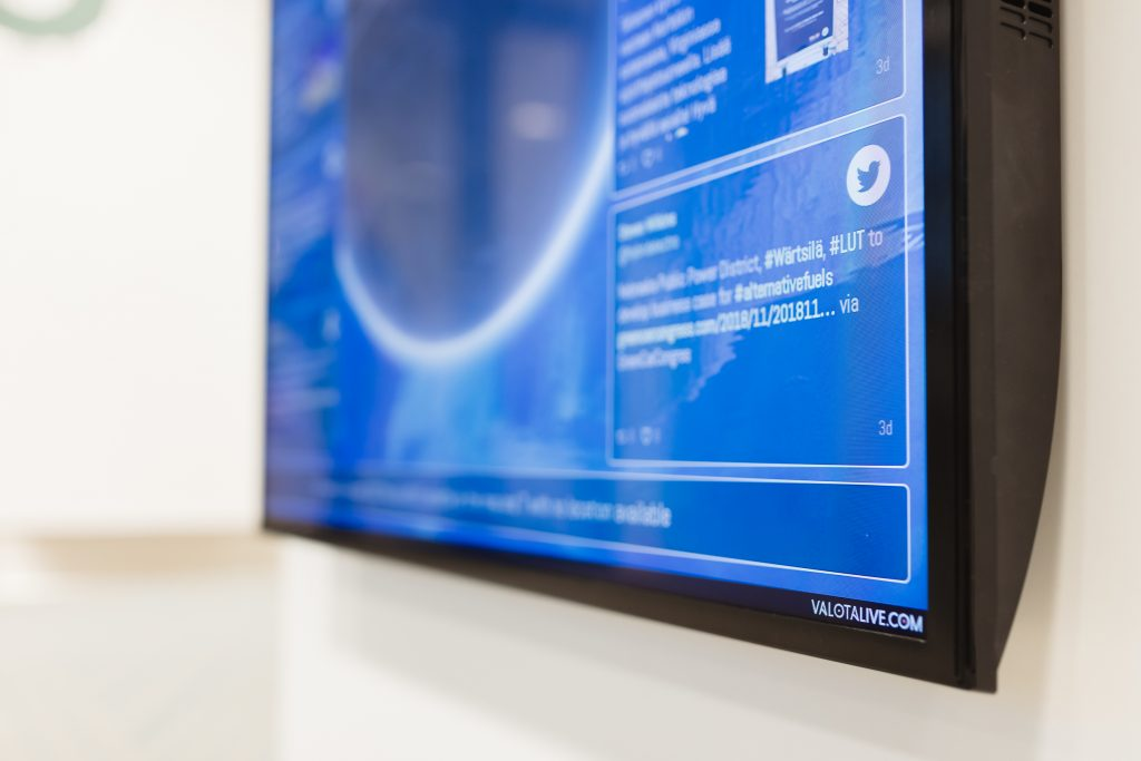 Digital Signage content on a display